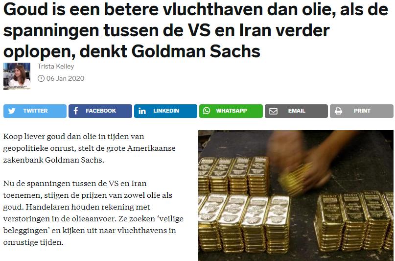 Goud is een betere vluchthaven dan olie, als de spanningen tussen de VS en Iran verder oplopen, denkt Goldman Sachs