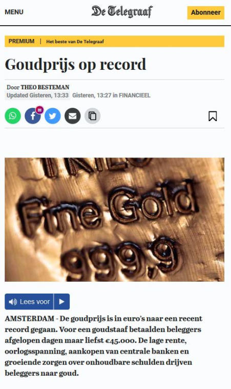 Goudprijs op record
