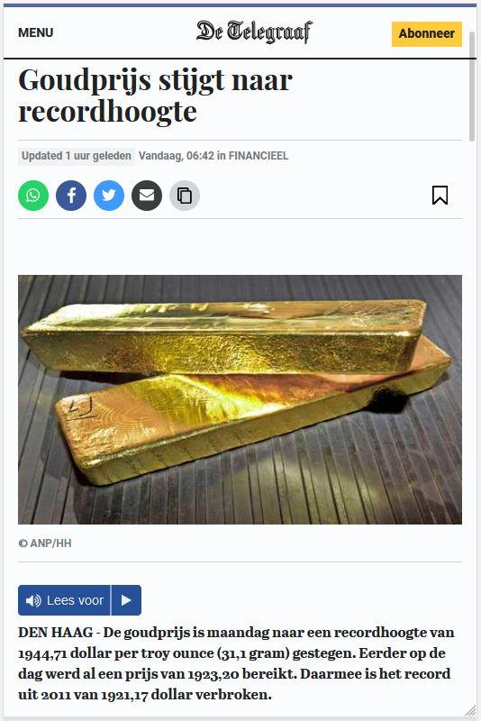 Goudprijs stijgt naar recordhoogte
