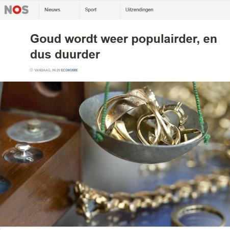 NOS: Goud wordt weer populairder